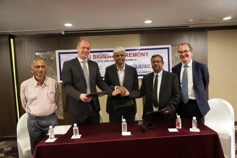 Anil Uppin, Clemens Jargon (VP - Mycronic), A J Hegde (VP - ELCIA Cluster), Rammohan K N (Chairman & MD - Accurex solutions Pvt Ltd), Patrik Tigerschiold (Chairman, Board of Directors -